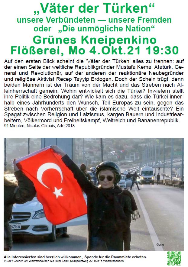 """Grünes Kneipenkino """"""""Väter der Türken"""" – Die unmögliche Nation"""""""